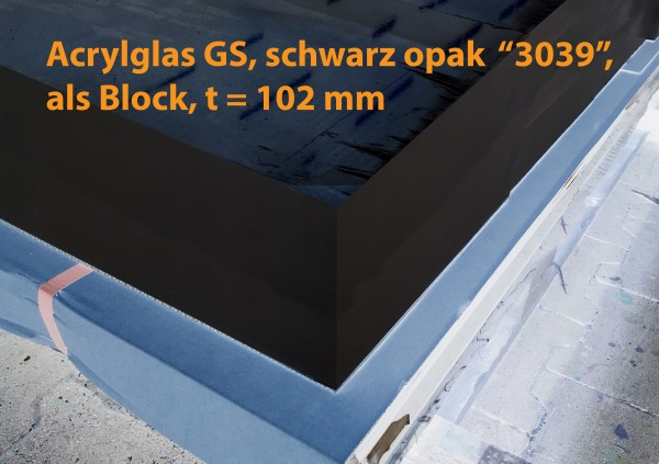 Acrylglasblock, PMMA, GS, schwarz opak, t = 102 mm
