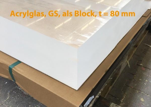 Acrylglas 2000 x 1200 x 80 mm, Acrylglasblock, GS, farblos