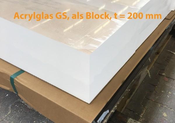 Acrylglasblock, GS, farblos, 1001, t = 200 mm