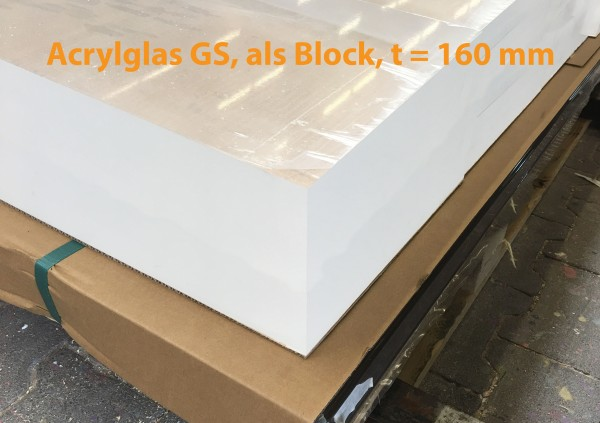 Acrylglas, GS, farblos, 1001, t = 160 mm