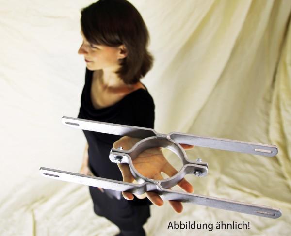 Schilderhalter Rohrschelle 110 mm Rohrdurchmesser 700 mm Lochabstand 2 Schilder