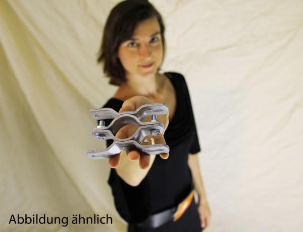 Schilderhalter / Rohrschelle f. Rohrdurchmesser ca. 48 mm, Lochabstand 70 mm f. 2 Schilder