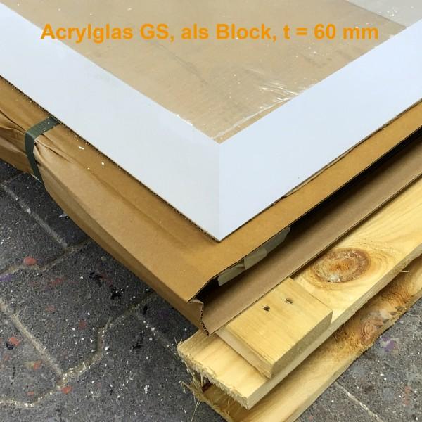Acrylglas Block 495 x 400 x 60 mm, GS, farblos