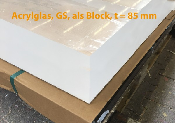 Acrylglasblock, PMMA, GS, farblos, t = 85 mm