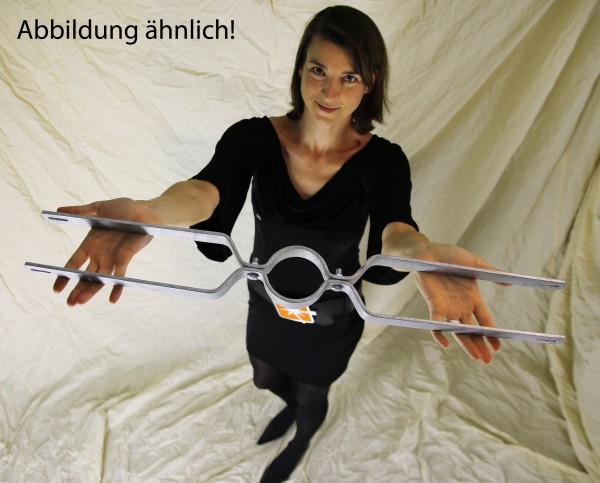 Rohrschelle / Schilderhalter f. Rohrdurchmesser 76mm, Lochabstand 500mm, f. 2 Schilder