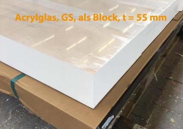 Acrylglasblock, PMMA, GS, farblos, t = 55 mm