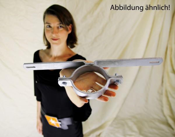 Rohrschelle Schilderhalter 89 mm Rohrdurchmesser 500 mm Lochabstand 1 Schild