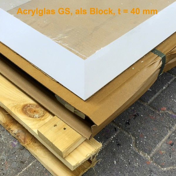 Acrylglas 2050 x 1270 x 40 mm, Block, GS, Farblos, Polycasa, CRYLUX® Glass, Standardqualität