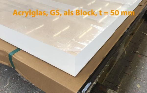 Acrylglasblock, PMMA, GS, farblos, t = 50 mm