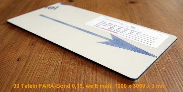 275 qm, 90 Tafeln FARA-Bond 0,15, 1000 x 3050 x 3 mm, weiß, Aluminiumverbundplatte